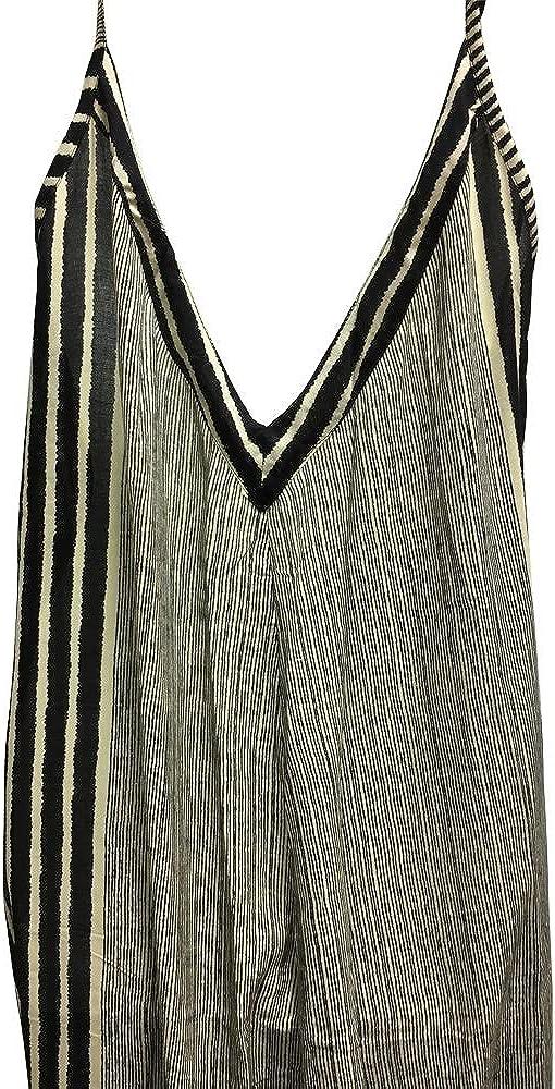 Yoga Trendz Womens Loose Fit Black /& Beige Striped Bohemian Harem Jumpsuit Romper Palazzo