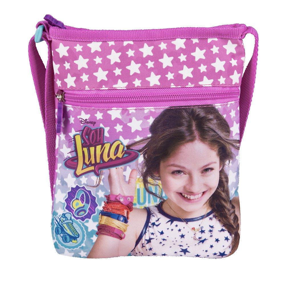 Borsa a Tracolla Piatta Bambina con stampa di Disney Soy Luna - Pratica borsetta messenger con stelle - Tracollina regolabile rosa da viaggio e tempo libero - 21x18 cm - Perletti 13225