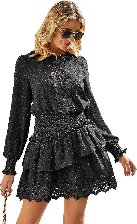 Women Long Sleeve Lace Mini Dress Ladies Turtleneck Party Cocktail Ruffled Skirt