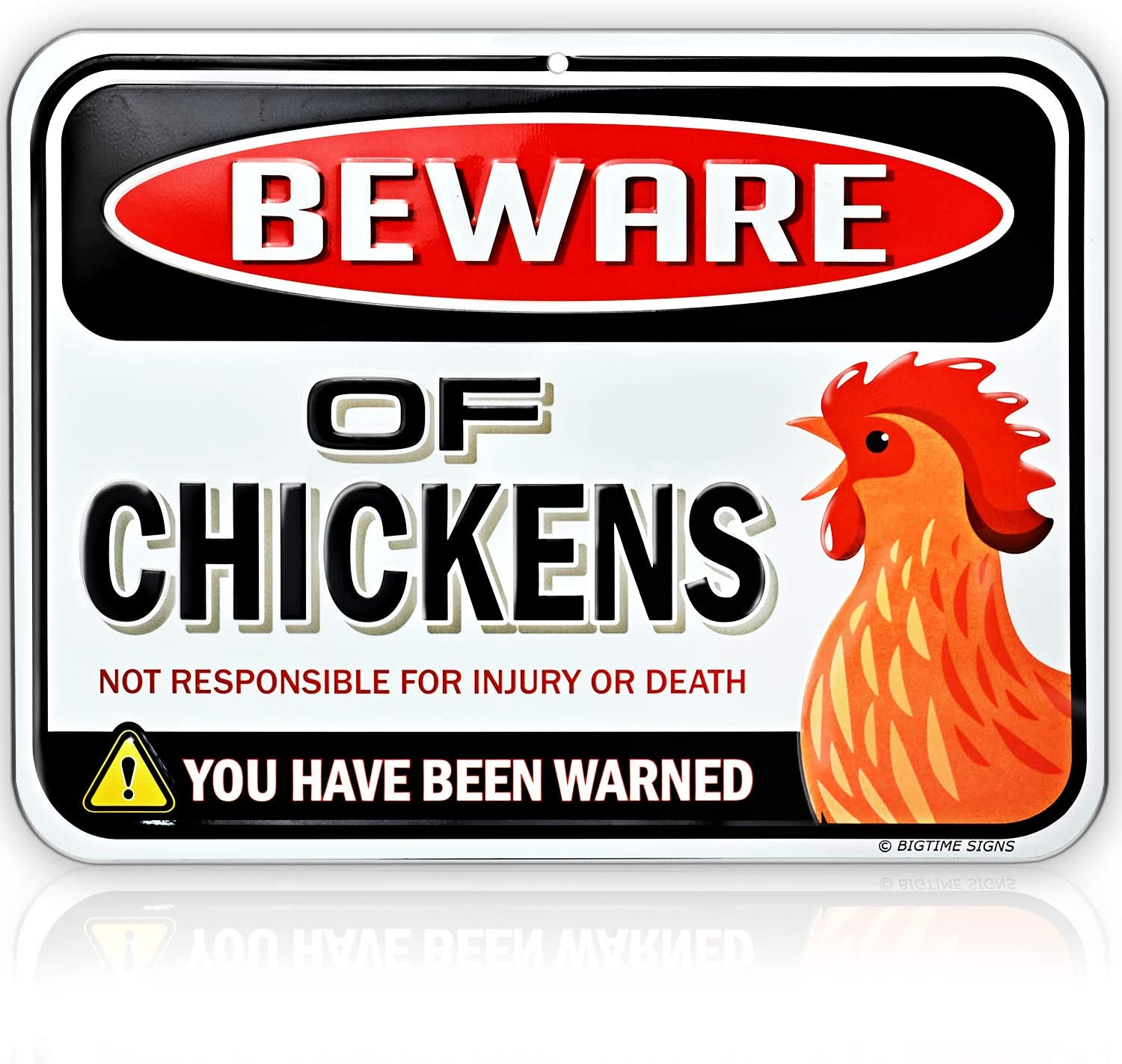 Beware of Chickens Warning Sign - Embossed Metal - 9 inches x 12 inches - Danger Sign Funny Gag Gifts for Chicken Fan Lovers - Tin Metal - Indoor or Outdoor - Chicken Rooster Plaque Sign