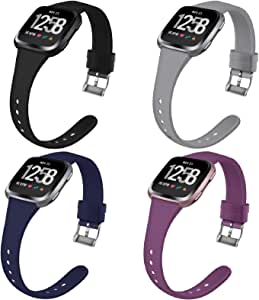 Coperr 4 Packs Bands Compatible with Fitbit Versa/Fitbit Versa 2/Fitbit Versa Lite for Women Men, Narrow Slim Soft Silicone Replacement Wristband for Fitbit Versa Smart Watch with Buckle Design