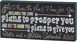 Dicksons Know The Plans Jeremiah 29:11 Chalkboard Black 5 x 10 Wood Table Top Sign Plaque