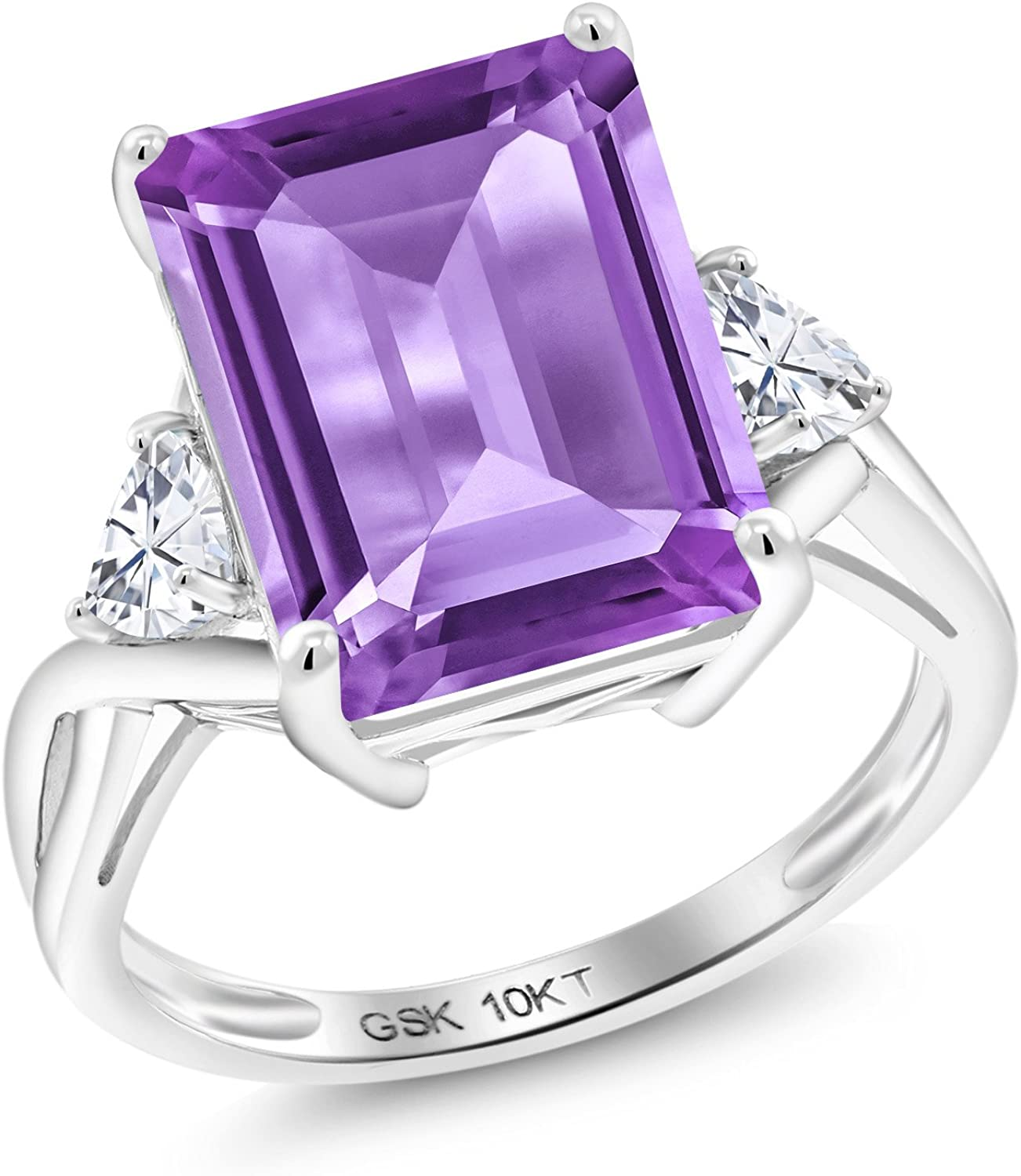 Gem Stone King 10K White Gold Purple Amethyst and Timeless Brilliant Created Moissanite Women Engagement Ring (6.71 Cttw, Emerald Cut 14X10MM, Available in size 5, 6, 7, 8, 9)