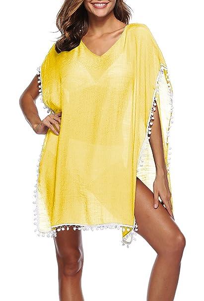Verano Nuevo Mujeres Mini Vestido con Pequeña Bola de Pelo Moda Cuello V Perspectiva Corto Playa Vestidos con Hendidura Casual Flojo Bikini Cover Up: ...