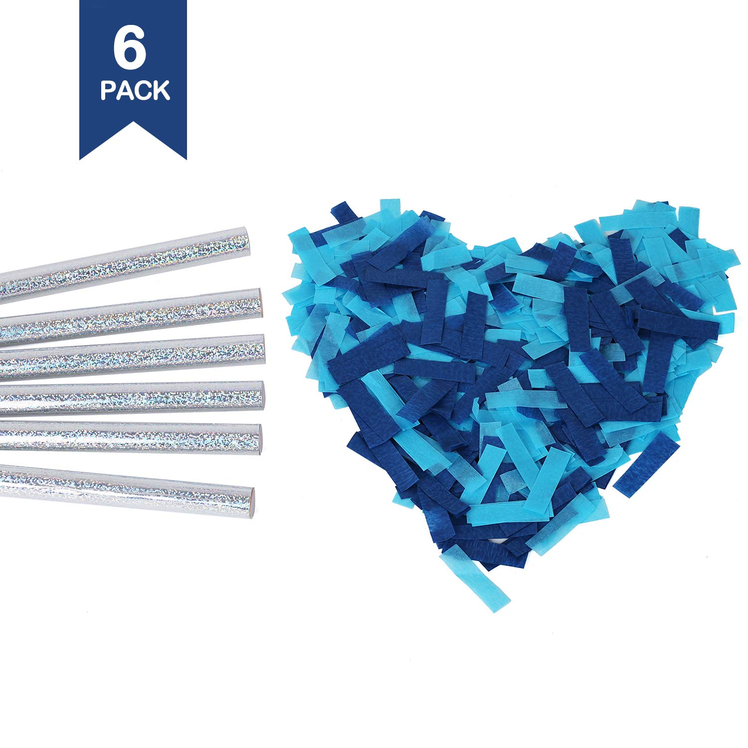 Battife Confetti Sticks 6Pack Blue Biodegradable Tissue Paper Confetti Flick Flutter Wands for Birthday Party Wedding - Blue 14inch
