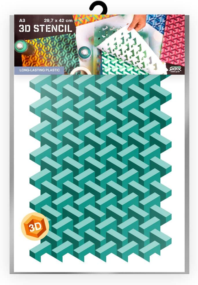 Pochoir en plastique mur p/âtisserie Mod/èle de mur de brique Peinture meubles artisanat adapt/é aux enfants Pochoir r/éutilisable pochoir de sol A3 42 x 29,7cm