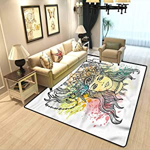 Occult Contemporary Area Rug Female Shaman Feathers Cosy Cute Floor Rug for Kids and Teens Room W5 x L7 Feet