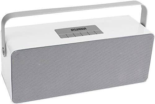 Sylvania SP672 Portable Bluetooth Speaker with Aluminum Handle White , 10.70in. x 5.30in. x 5.20in.