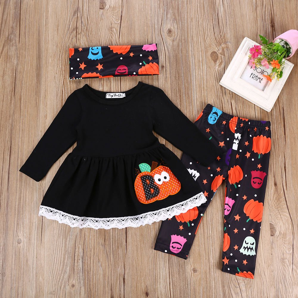 MLCHNCO Baby Girl Halloween Outfit Set Pumpkin Long Sleeve Dress Pants with Headband Clothes Set