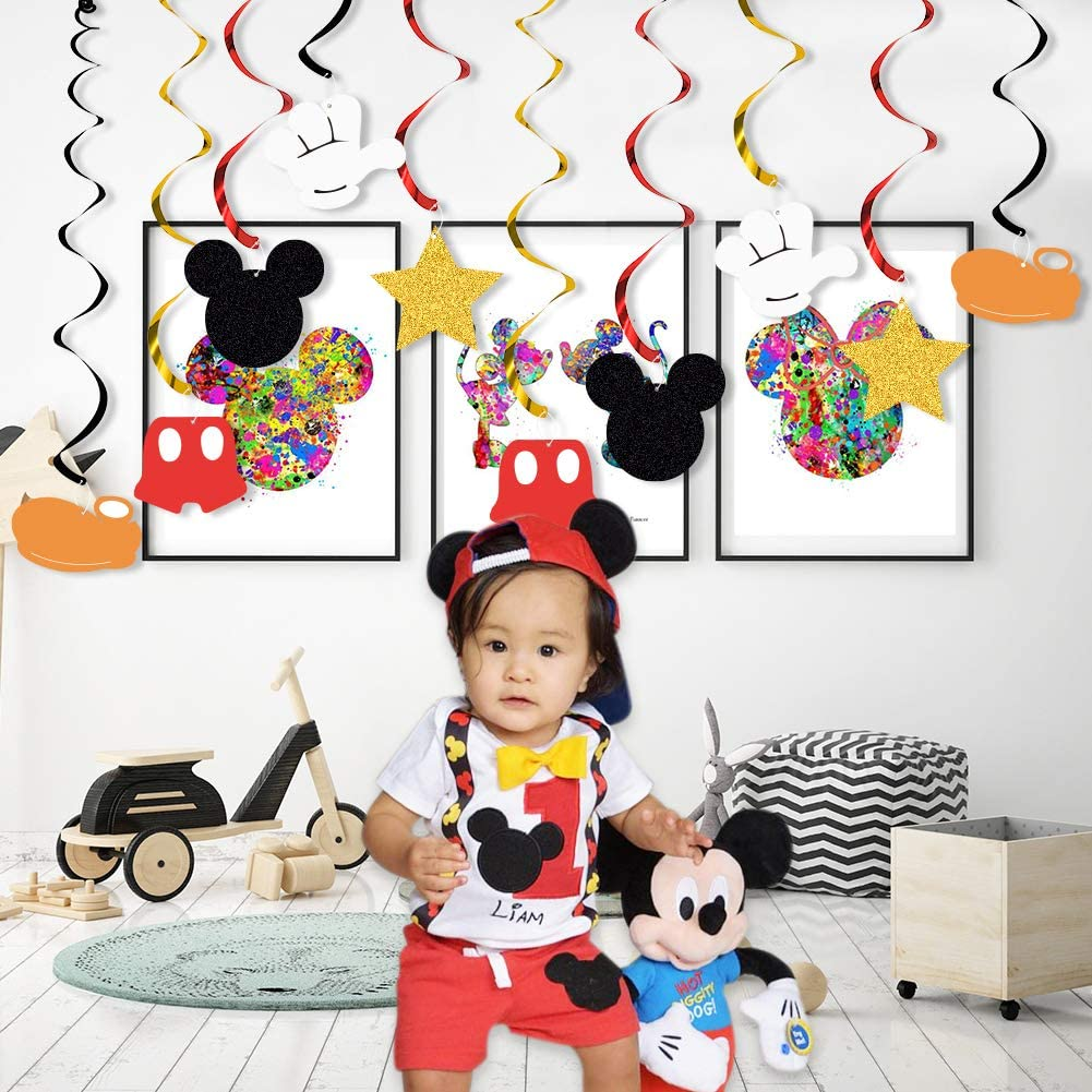 Mouse Hanging Swirls for Baby Birthday Party Mouse Theme Party Supplies 20 PCS Mouse Hanging Swirls Decorations