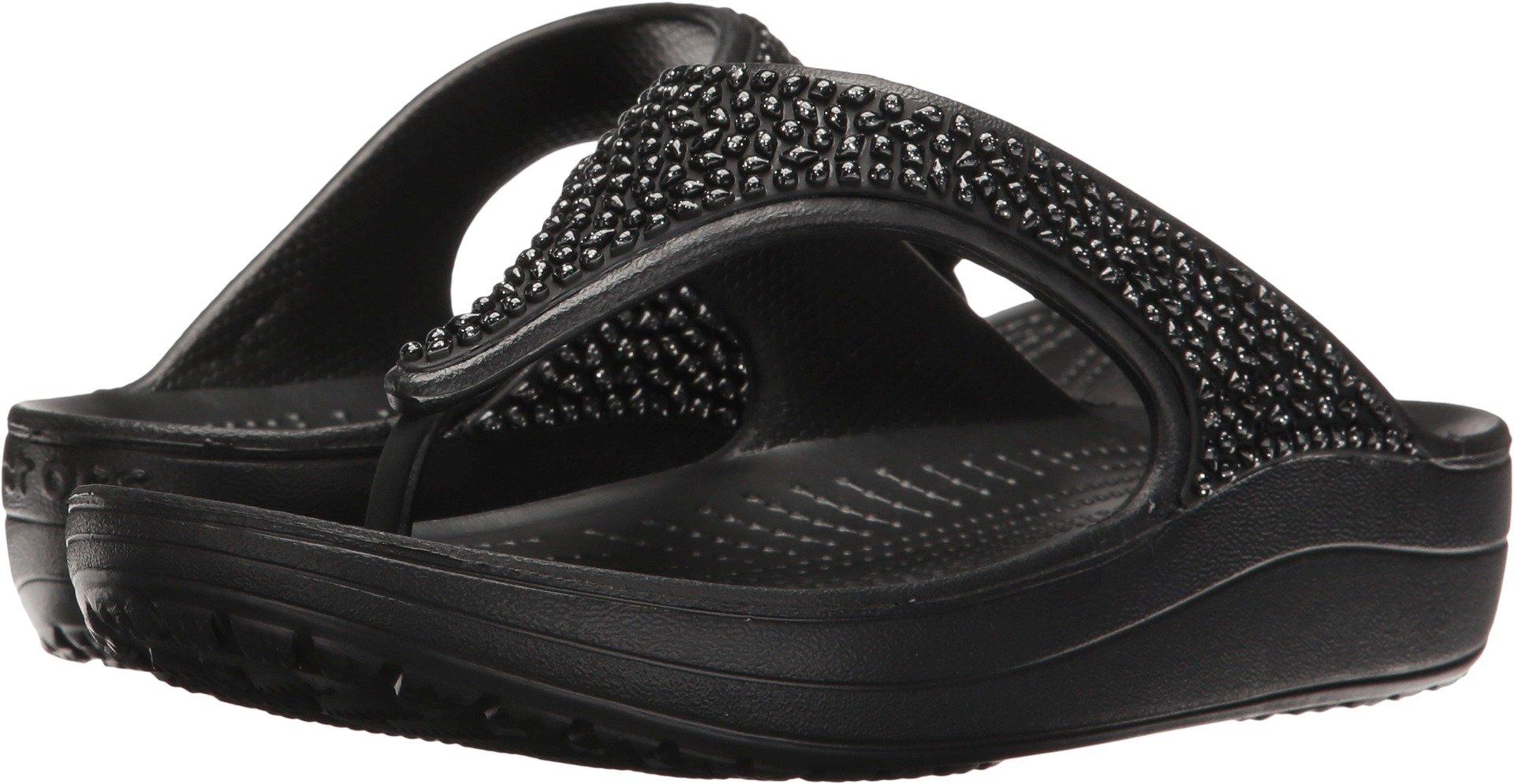 Crocs Women's Sloane Embellished Flip Flop, Black/Black, 10 M US