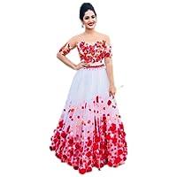 Surat4Fashion Women's Embroidered White Net Lehengas Choli(LHB101_White_FreeSize)