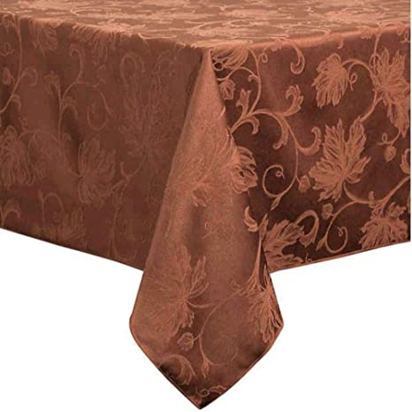 Amazon Com Bed Bath Beyond Autumn Vine Damask 60 Inch By 144 Tablecloth In Formal Bronze Home Kitchen