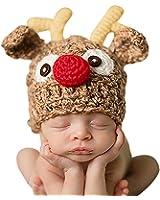 Christmas Santa's Reindeer Crochet Toddler Baby Hat Beanie Photo Prop