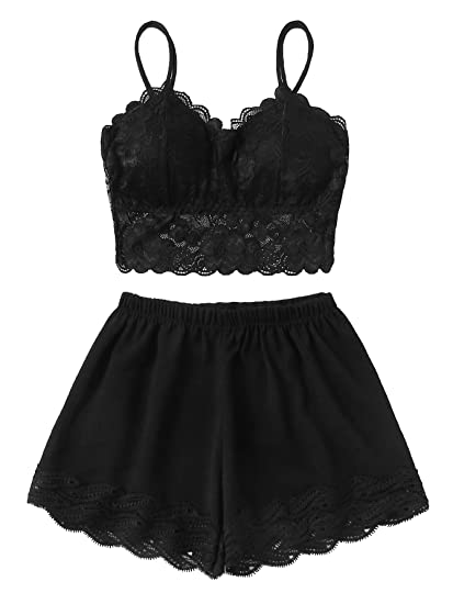 ff6ef50d7d SheIn Women's Lace Bralette Cami and Shorts Pajamas Set Sleepwear one-Size  Black at Amazon Women's Clothing store: