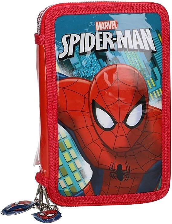 Marvel Spider-Man Estuche Lápiz caso de la escuela SPIDERMAN triple rojo 3 zip VZ558: Amazon.es: Ropa y accesorios