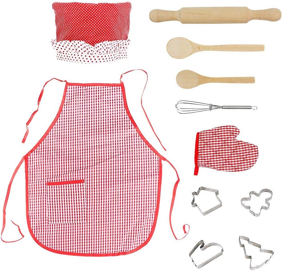 Tablier et Toque de Chef SOKY Set de Cuisine et de p/âtisserie pour Enfants