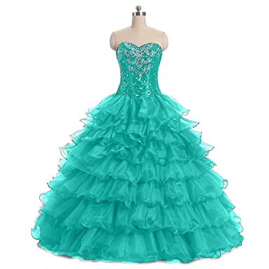 ae38072e4fc Diandiai Women s Ball Gown Quinceanera Dresses Crystal Ruffles Prom Gown  Mint 2