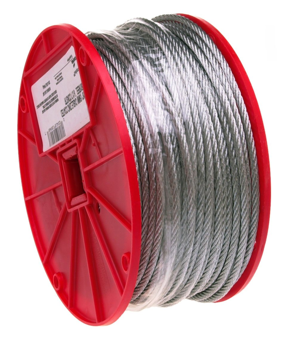 "B0002YUOHS Galvanized Steel Wire Rope on Reel, 7x7 Strand Core, 1/8"" Bare OD, 500\' Length, 340 lbs Breaking Strength 71Fz14OYzSL"