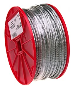 """Galvanized Steel Wire Rope on Reel, 7x7 Strand Core, 1/8"""" Bare OD, 500' Length, 340 lbs Breaking Strength"""