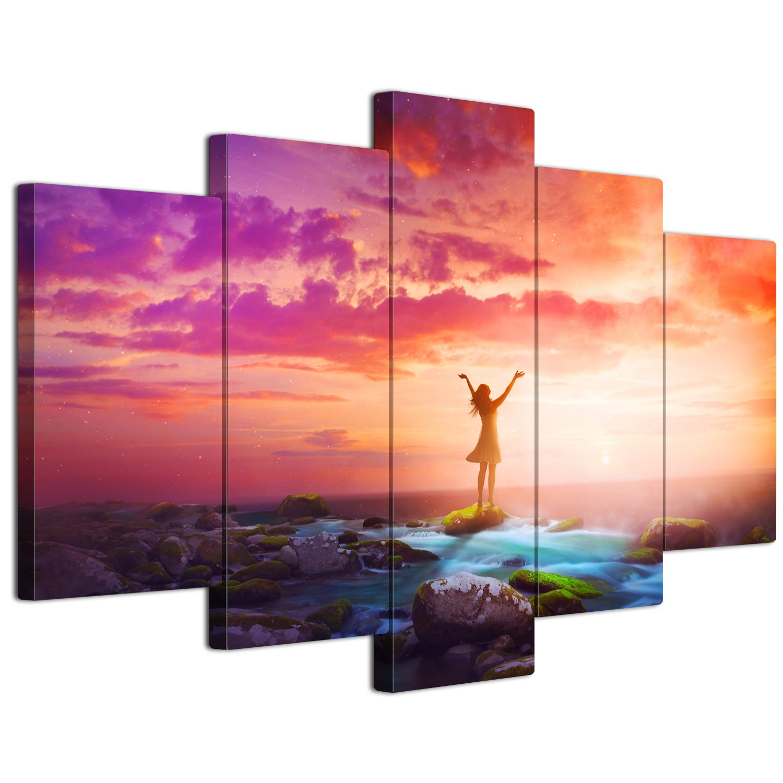 【リブラLibra】 5パネルセット アートパネル インテリアアート 海の景色 キャンバス絵画 (木枠付きの完成品) (L, LP1732) B075VJXZS3 Large|LP1732 LP1732 Large