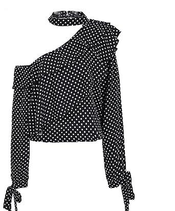 964c27021dd55 Jongood Stylish One Shoulder Polka Dot Blouse Ruffle Lantern Sleeve Vintage  Chiffon Blouse Bow Women Summer
