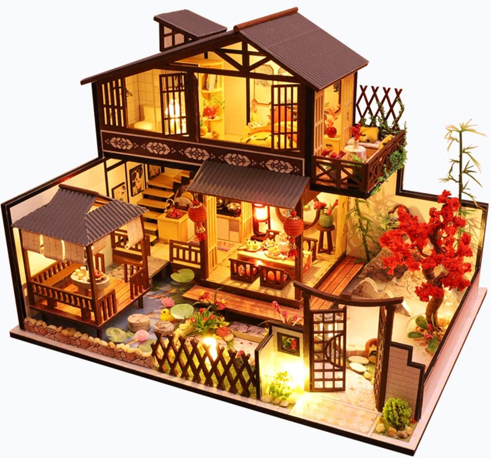 DIY Dollhouse Miniature with Wooden Furniture Kit,Handmade Three-Story Japanese Style Home Craft Model with LED Lights,1:24 Scale Creative Doll House Toys for Teens Adult Gift