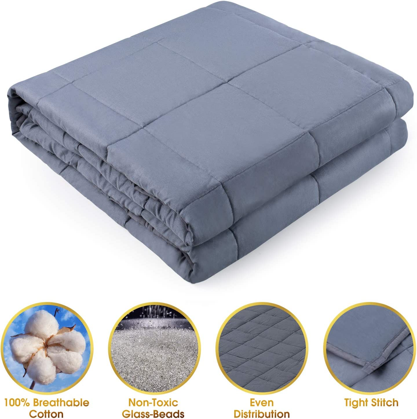 Alomidds Weighted Blanket 5 lbs 5lbs-36x48 Grey 36x48 Heavy Blanket for Kids Calm Sleeping 100/% Cotton Material with Nontoxic Glass Beads
