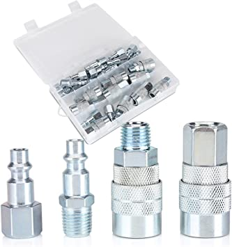 5pcs Iron Quick Coupler Set Air Hose Connector Fittings Adapter 1//4 NPT Tools