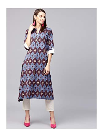 006bb40db6ffb Amazon.com  Hiral Designer Indian Women BollyWood Kurti Women Blue Printed  A-Line Kurta Cotton Dresses  Clothing