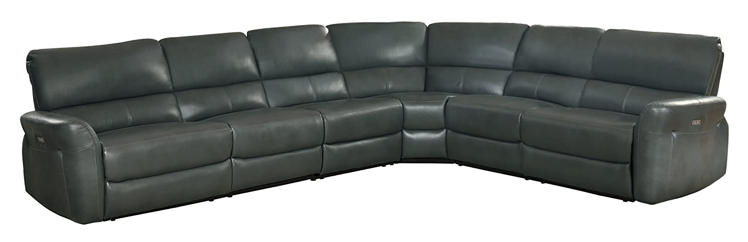 Homelegance Powered Motion Recliner 4-Piece Sectional Sofa AireHyde Breathable Faux Leather, Grey