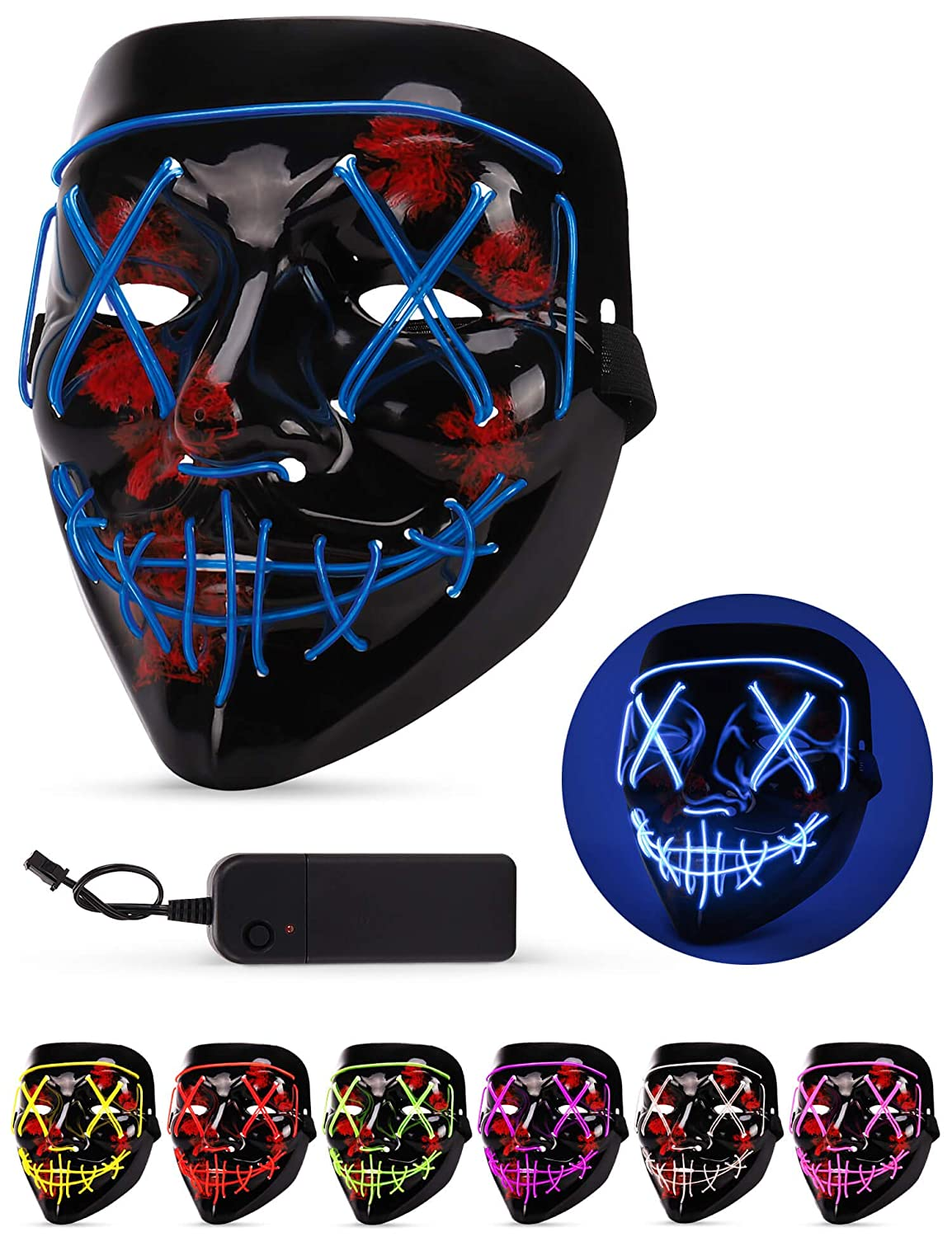 4-Modes Halloween Scary Mask Cosplay Wire Led Light Up Costume Mask yo