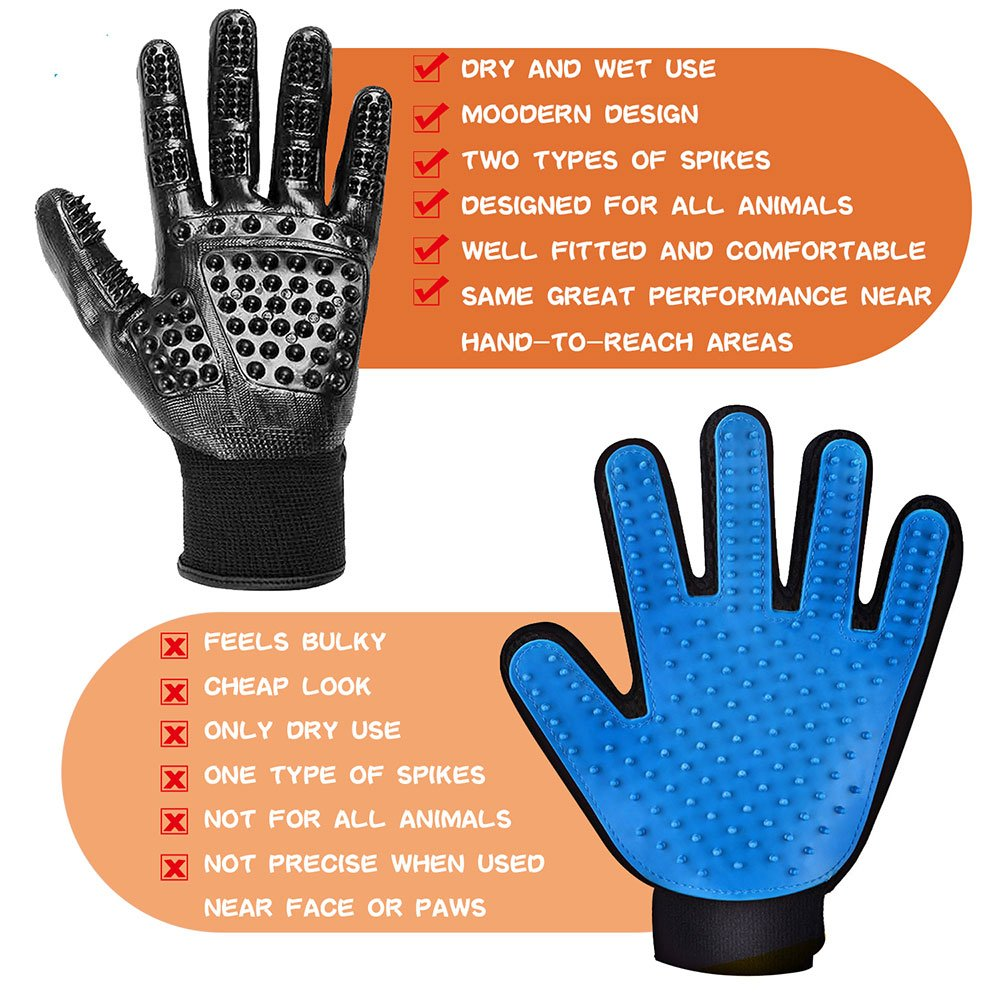 RoyalCare Pet Grooming Glove Gentle Deshedding Pet Brush Glove - Pet Hair Removal Mitt with Enhanced Five Finger Design for Long & Short Fur Dogs Cats Horses Rabbits - 1 Pair (Black) by RoyalCare (Image #2)