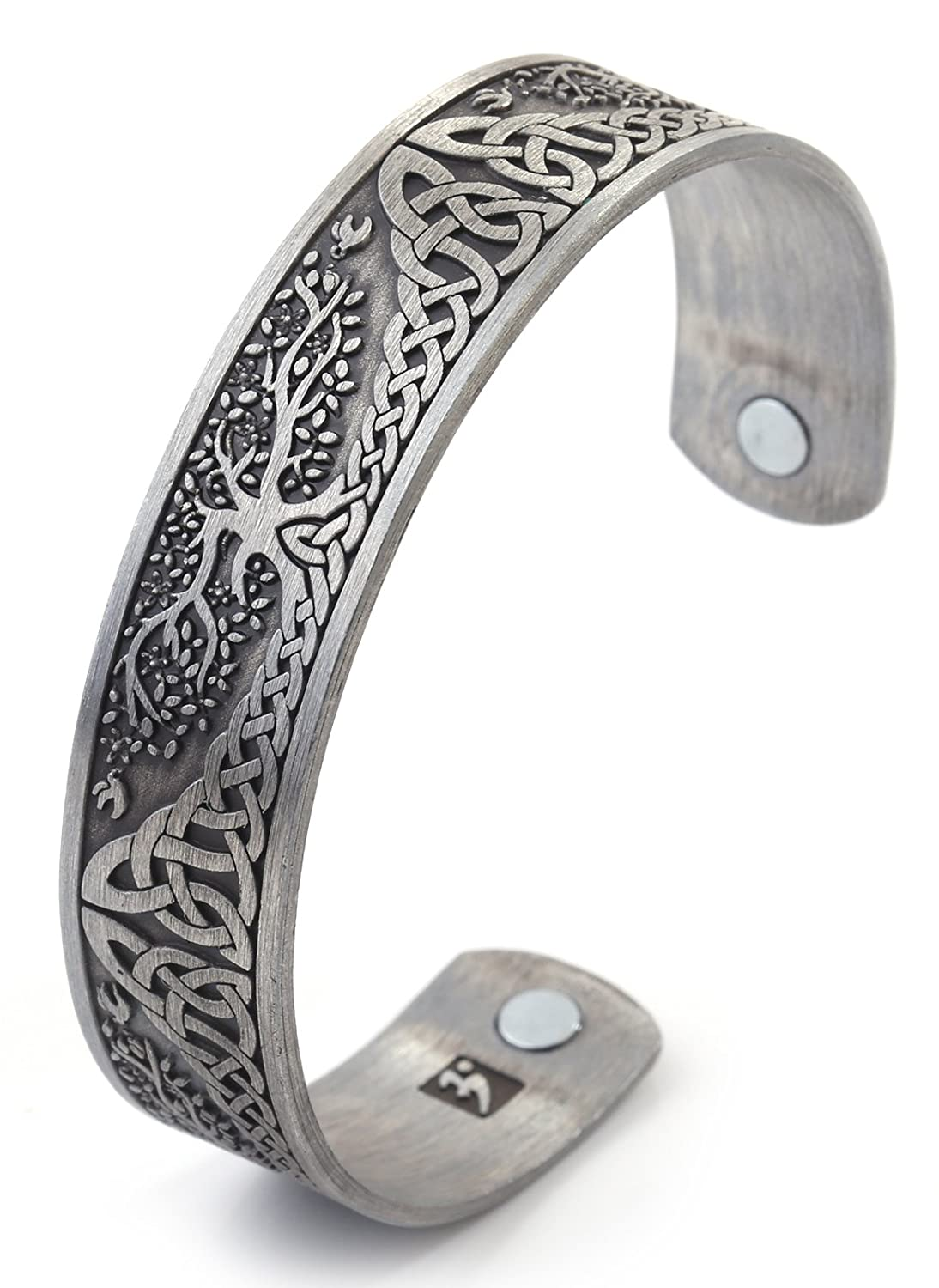 Vintage Tree of Life Irish Knot Totem Health Care Magnet Bangle Cuff Bracelet (Antique Silver) GeXiang B07BKWGJSJ_US