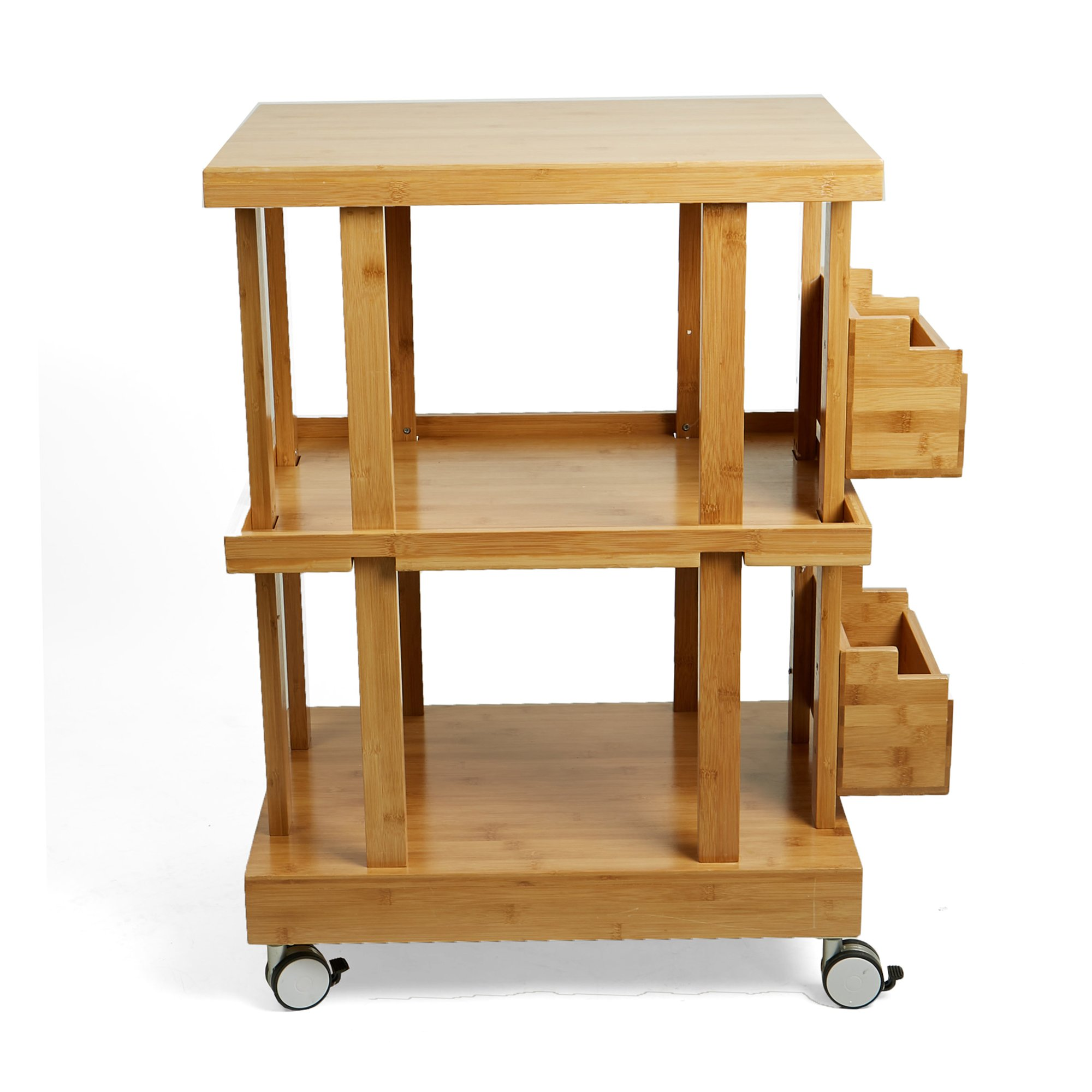 Mind Reader 3-Tier Kitchen Utility Cart with 2 Storage Compartments, Bamboo Wood, Brown by Mind Reader (Image #4)
