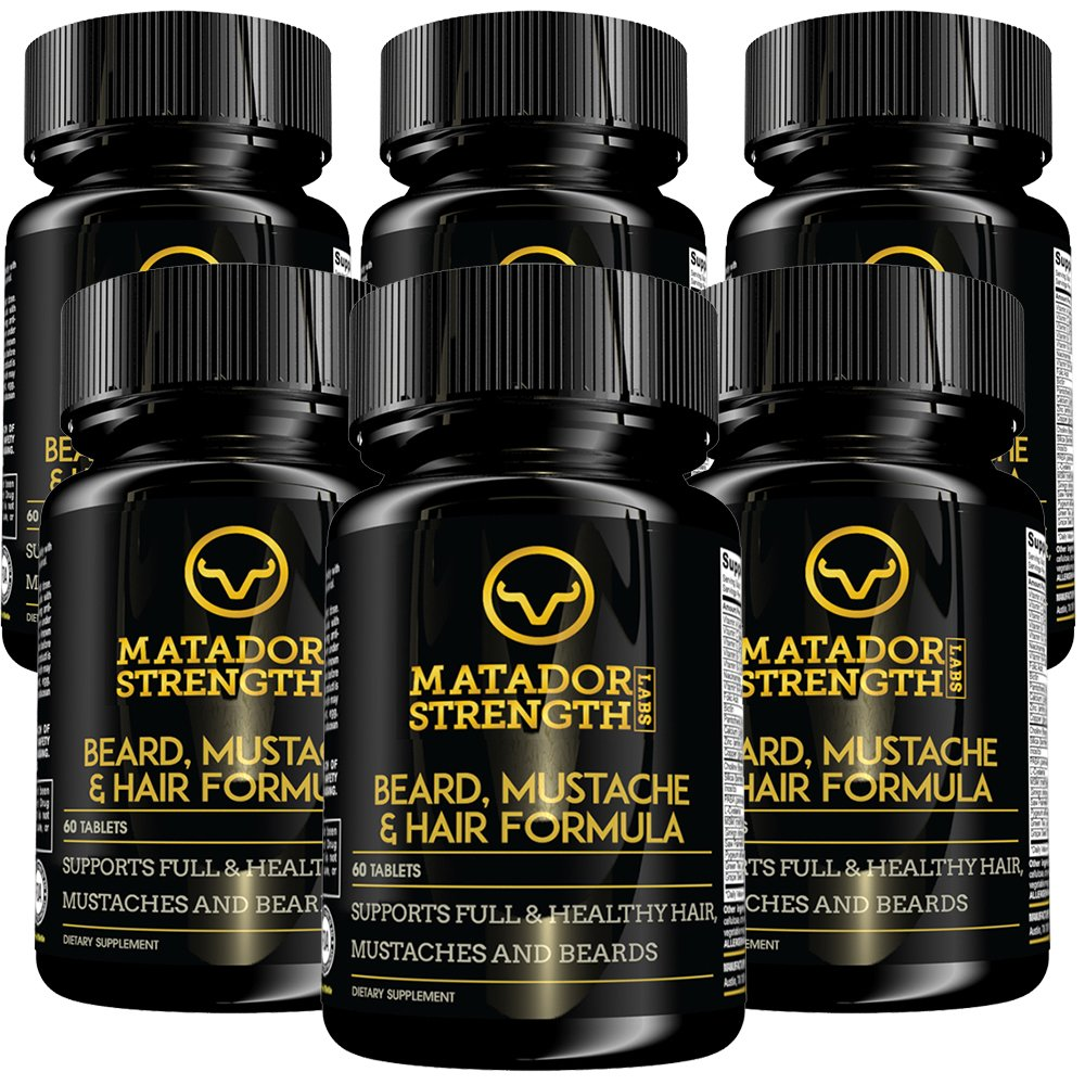 Beard Hair Growth Multivitamin for Men - Fast Acting Results - Revolutionary Formula Grows Full, Thick, Sexy Beards on Autopilot with Biotin, Vitamin B, Saw Palmetto, Zinc - 6 Bottles Made in USA