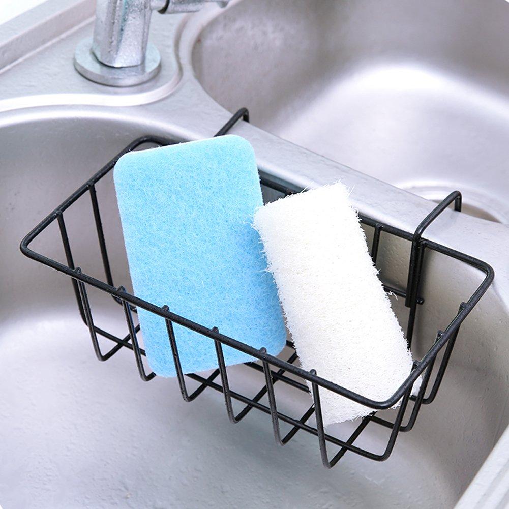 Dytiying cucina metallo appeso cestello per lavandino lavello scolapiatti organizzatore pennello porta spugna White