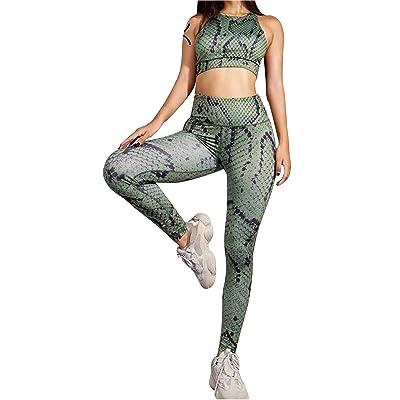 A. M. Sport Pareja de Top y Malla Conjunto para Mujer compresivos. Malla y Sujetador Deportivo (Serpiente Verde) - S: Ropa y accesorios