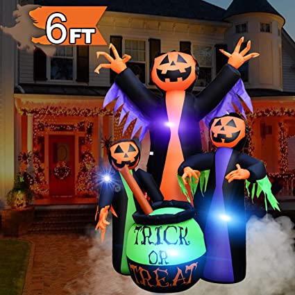 Halloween Decorations Outdoor Inflatable Witches Cauldron 6ft Trick Or Treat Pumpkin Wizard Led Light Inflatable For Halloween Holiday Party Decor