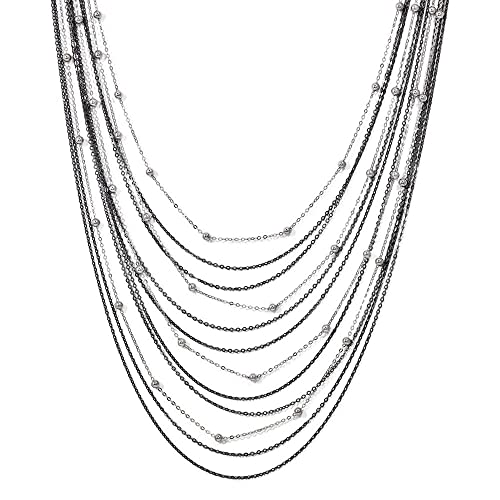 Best Designer Jewelry Leslies Sterling Silver Ruthenium-plated Citrine Necklace w//2in ext