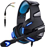 Micolindun Gaming Headset for Xbox One, PS4, PC, Over Ear Gaming Headphones with Noise Cancelling Mic LED Light, Stereo…