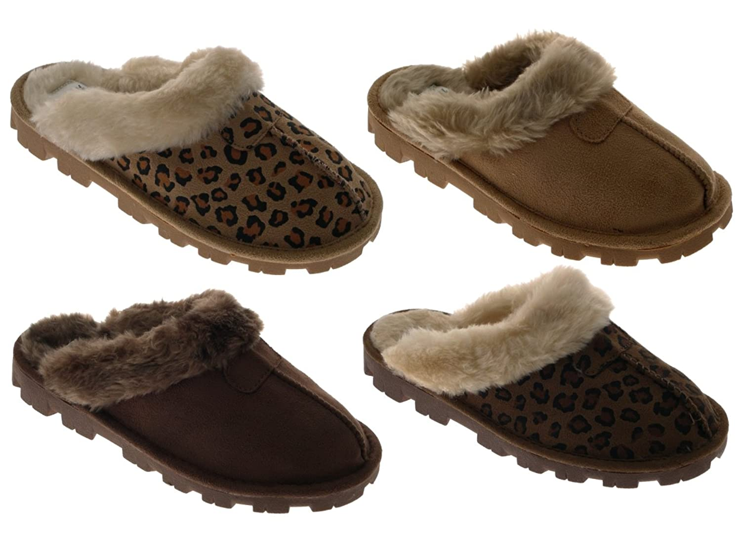 WOMENS SLIPPERS MULES WARM COMFORTABLE SLIP ONS LADIES GIRLS FAUX SHEEPSKIN  SUEDE FUR LINED SLIPPER SHOES LEOPARD DARK BROWN SIZE UK 3: Amazon.co.uk:  Shoes ...