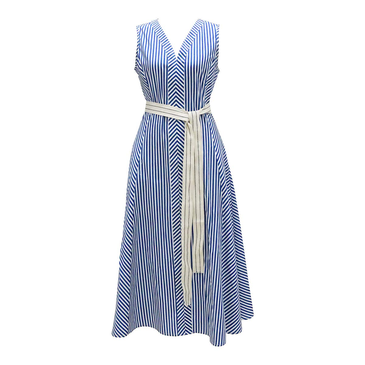 Women's Dress Sleeveless VNeck Striped Cotton Dress Stylish Slim Waist Dress bluee S,M,L,XL(Party,Travel,Wedding,Evening)