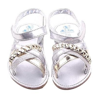 ???? Chaussures de Bébé Sandales Été Amlaiworld Bébé Princesse Sandales First Walkers Filles Chaussures Pour Enfants Fille 0-18Mois (13/12-18Mois, Argent)