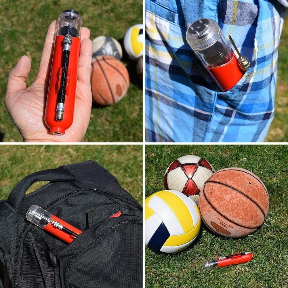 Belukies Inflator Pompe /À Pompe Volley-ball Bicyclettes Ballons Basket-ball Mini Pompe /À Air Portable Gonflable Pour Pneu De V/élo Avec 4 Aiguilles Pour Ballon De Football
