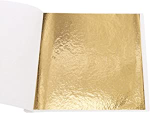 Imitation Gold Foil Sheets - KINNO B Gold Leaf Paper for Furniture, Arts Decoration, Handcrafts, Picture Frames, Gilding, Nails, Paintings, Slime, Wall, Line, DIY, 100 Sheets 3.15 by 3.35 Inches