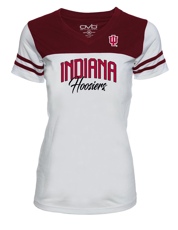 Small White//Crimson Old Varsity Brand NCAA Indiana Hoosiers Womens JRS Football T-Shirt