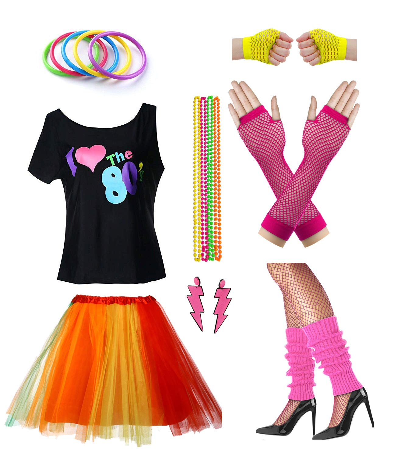 Women I Love The 80's Disco 80s Costume Outfit Accessories Set (M/L, Color)