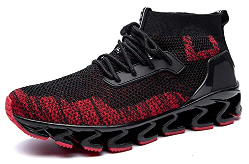 a7dcdf44c2c30 SKDOIUL Springblade Sports Sneakers for Men Mesh Breathable Fashion Youth  Big Boys Trail Walking Shoes Black White Red
