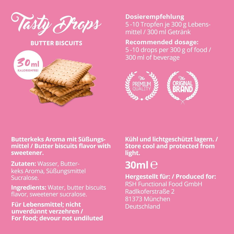 Flav Drops sin azúcar y calorías – Saborizante con sucralosa – Edulcorante aromatizado líquido – GymQueen Tasty Drops - Producto Alemán – Botella de fácil dosificación 30 ml (Galleta de Mantequilla): Amazon.es: Alimentación y bebidas